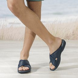 Navy leather sandals with a lycra lining