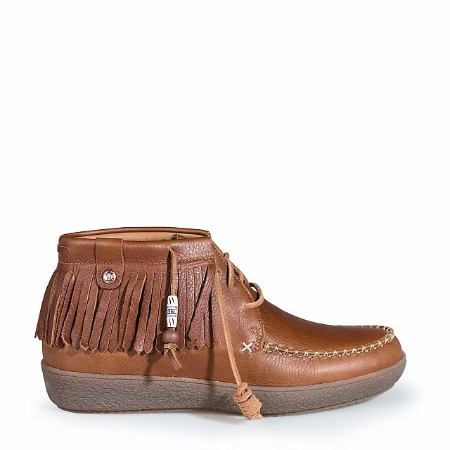 Leather ankle boots in bark with leather inner lining
