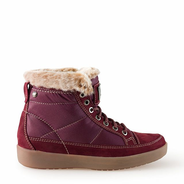 Leather and textile ankle boots in burgundy with fur inner lining