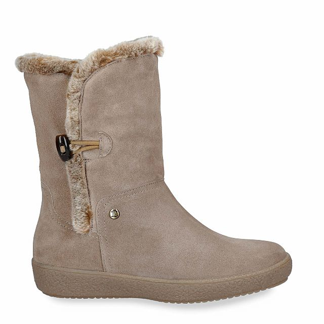 Leather boot in taupe with warm lining