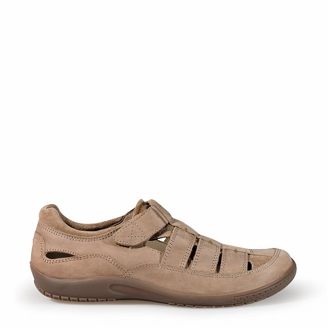 Men's leather sandal in taupe