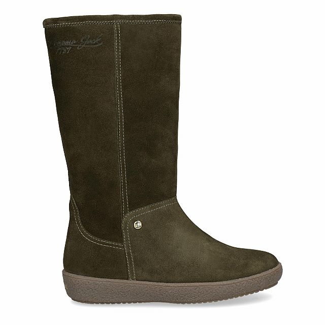 Leather boot in khaki with warm lining