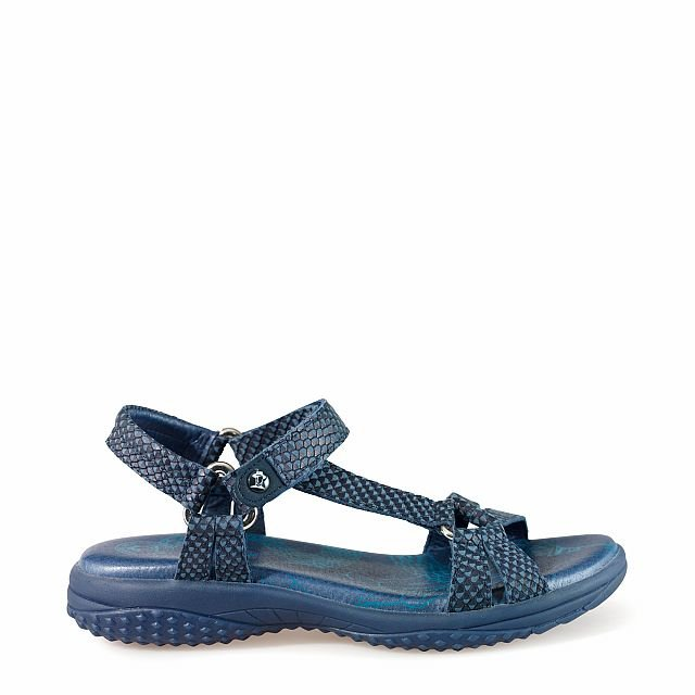Leather sandal in navy with leather inner lining