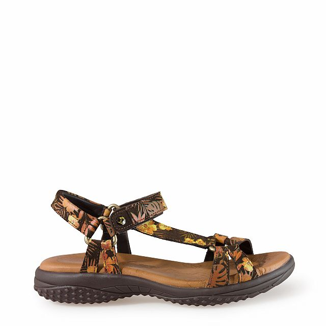 Leather sandal in tropical print with leather inner lining