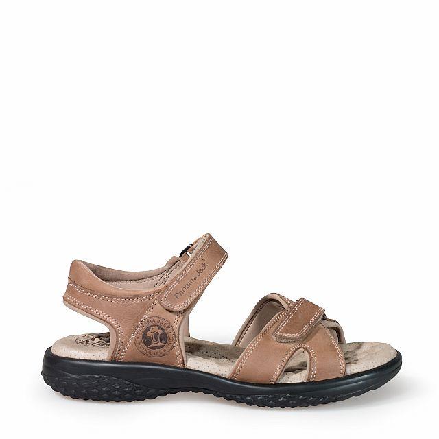 Sandalia de piel taupe