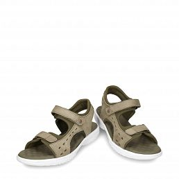 Kakhi leather sandals with a lycra lining