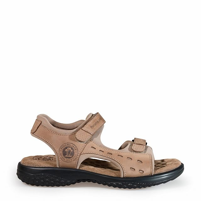 Women's leather sandal in taupe