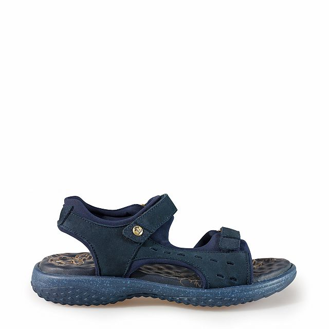 Leren sandaal, marineblauw met een lycra voering