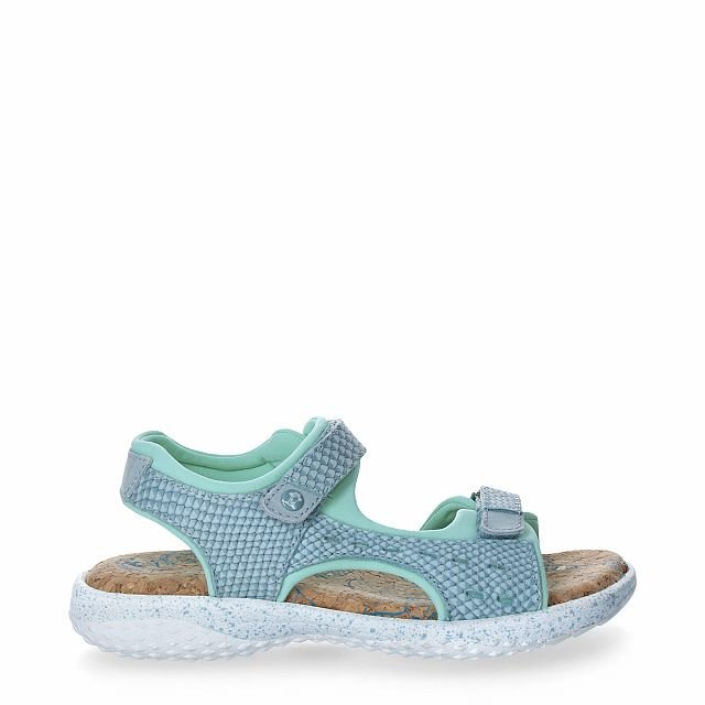 Leather sandal in turquoise  with Lycra inner lining