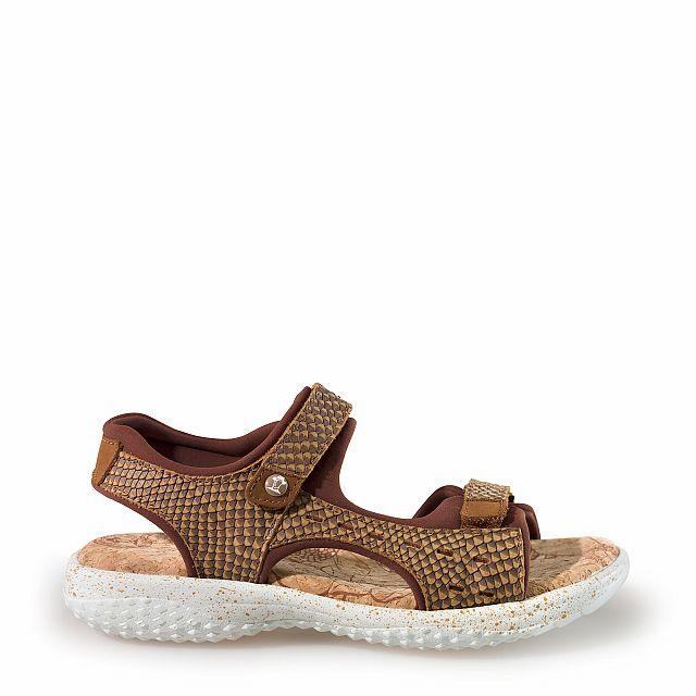Leren sandaal,  naturel met een lycra voering