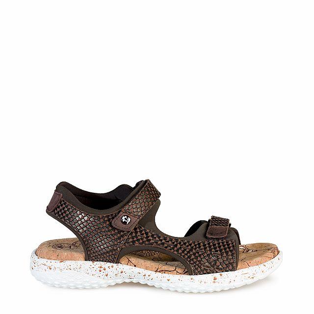 Sandalia de piel marron con forro de lycra