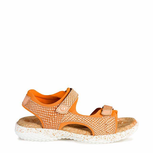 Sandalia de piel coral con forro de lycra