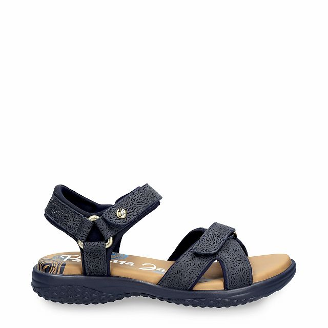 Leather sandal in navy with Lycra inner lining
