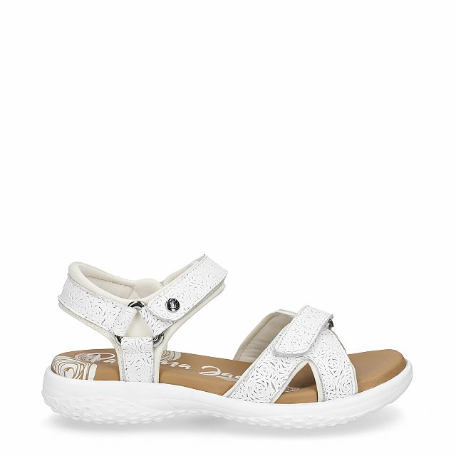 Leather sandal in white with Lycra inner lining