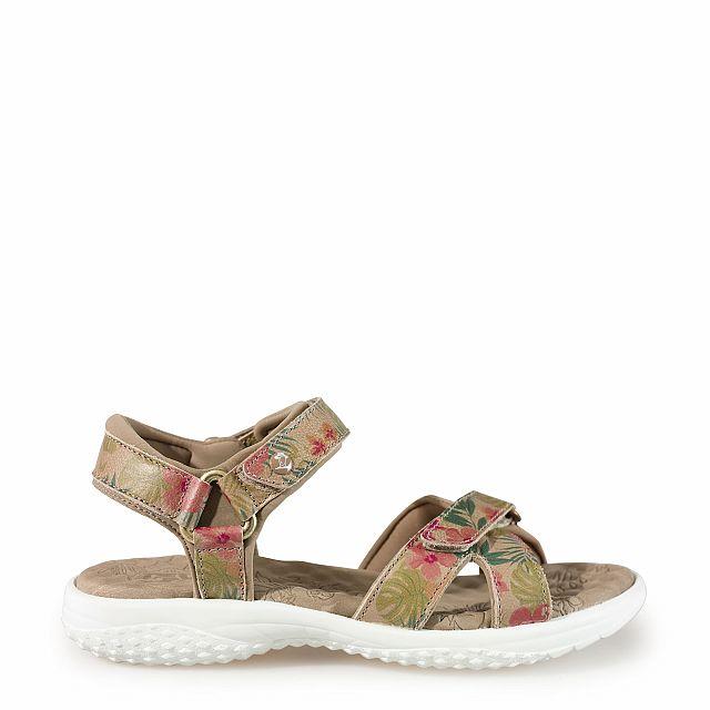 Leren sandaal,  tropical met een leren voering