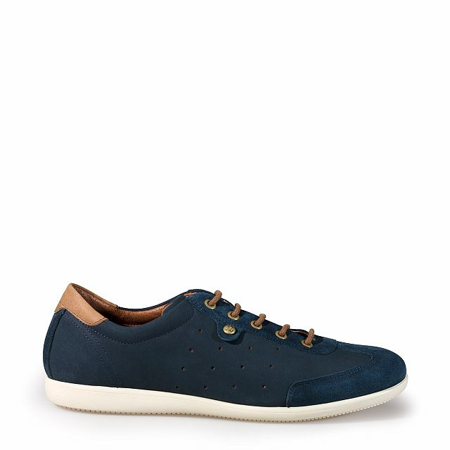 Men's leather sneaker in blue