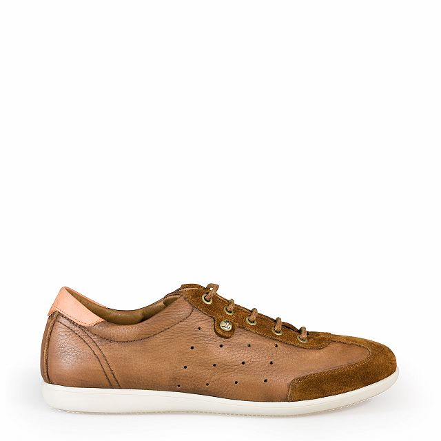 Leather trainer in chestnut