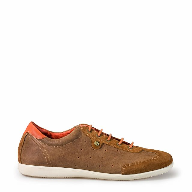 Men's leather sneaker in bark
