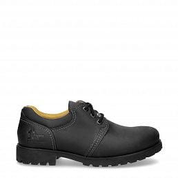 Black leather shoe with leather lining