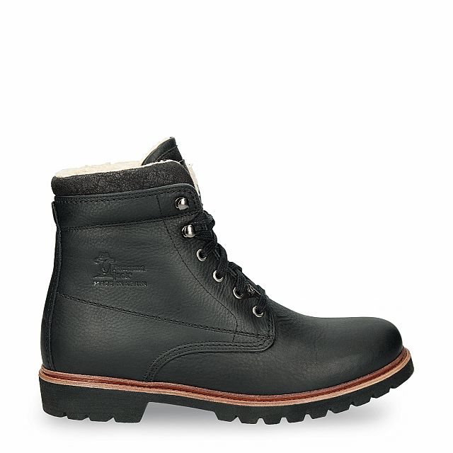Black leather boot with a cotton lining