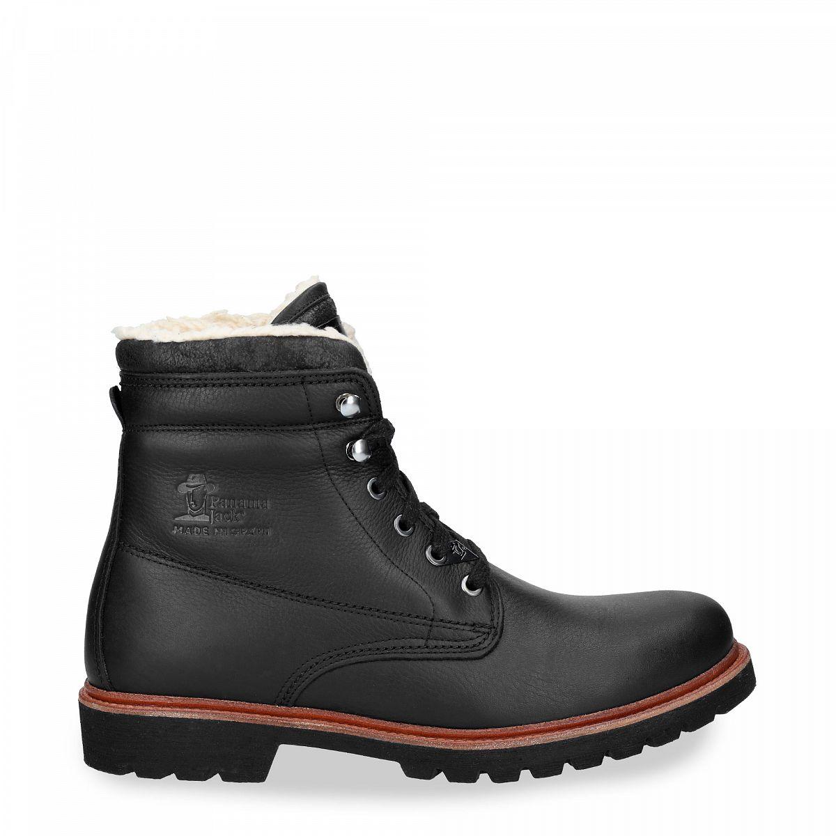 81355bb536e Bota de piel negro con forro de algodón
