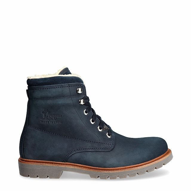 Navy leather boot with a cotton lining