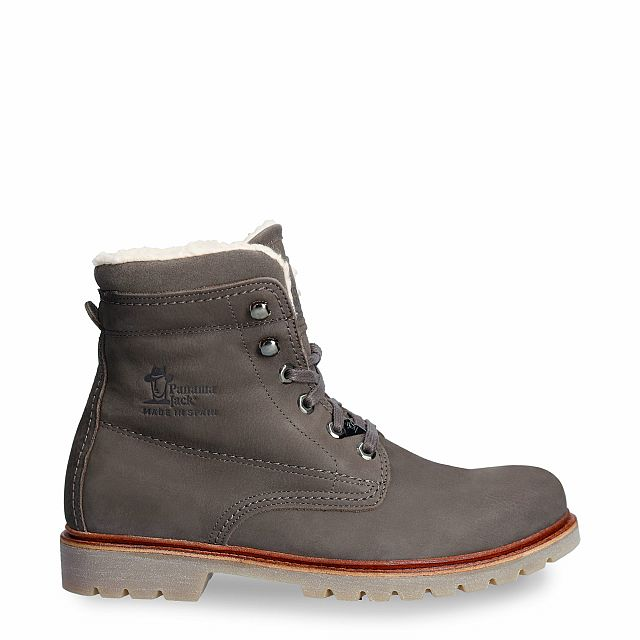 Grey leather boot with a cotton lining