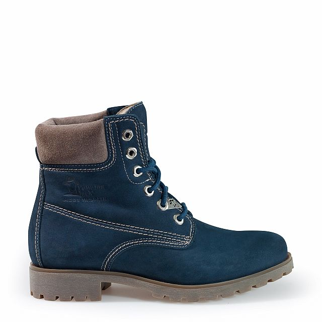Leather boots in blue with leather inner lining