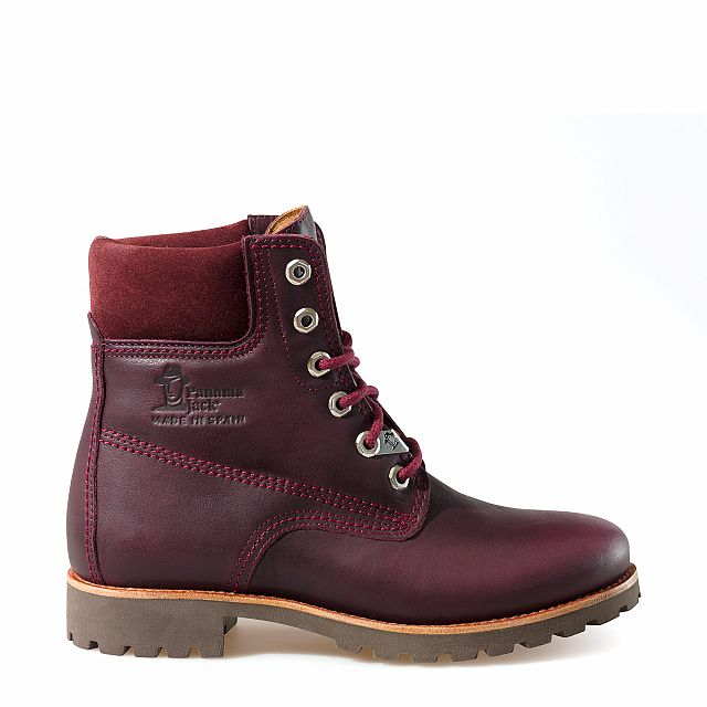 Leather boots in burgundy with leather inner lining