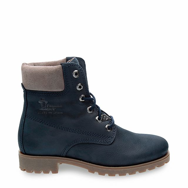 Leather boot in navy with leather inner lining