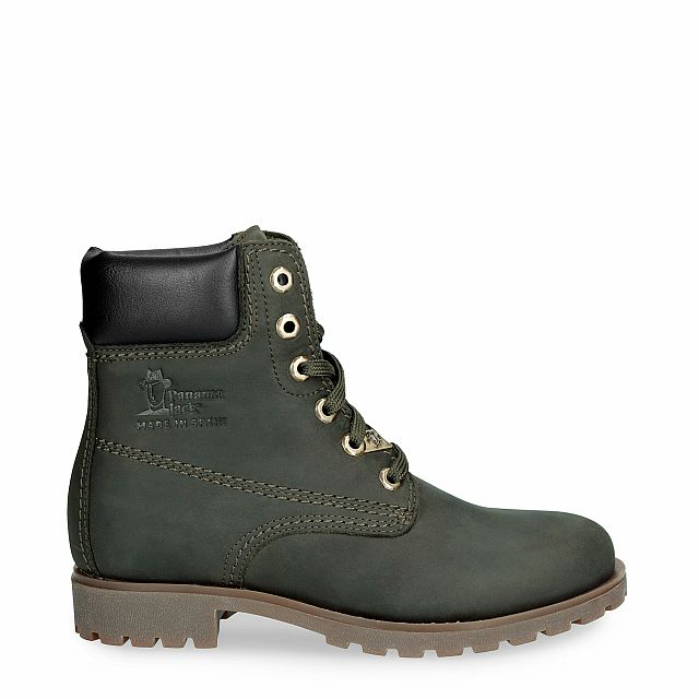 Leather boot in green with leather inner lining