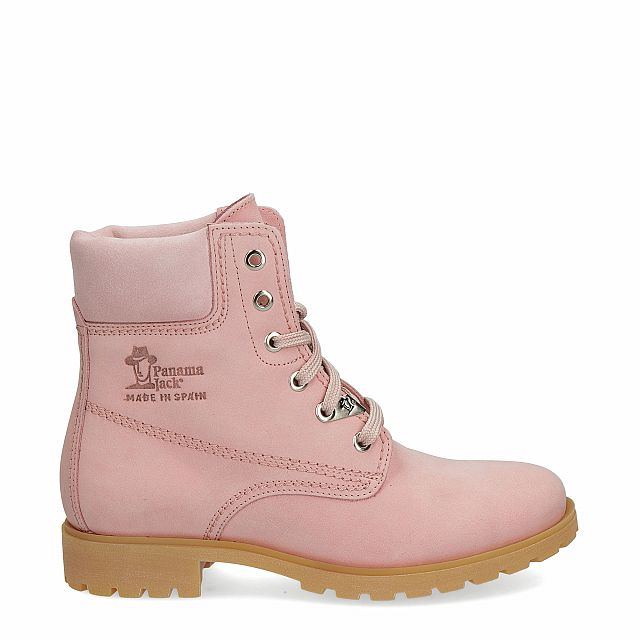 Leather boot in pink with leather inner lining