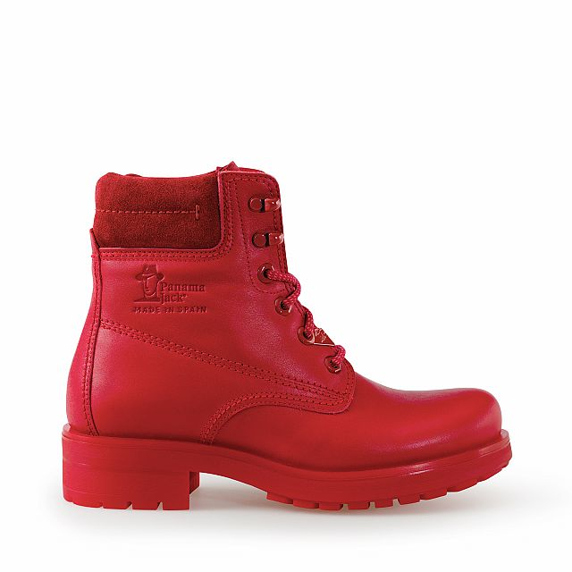 Leather boots in red with leather inner lining