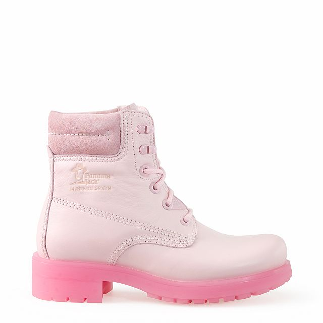 Leather boots in pink with leather inner lining