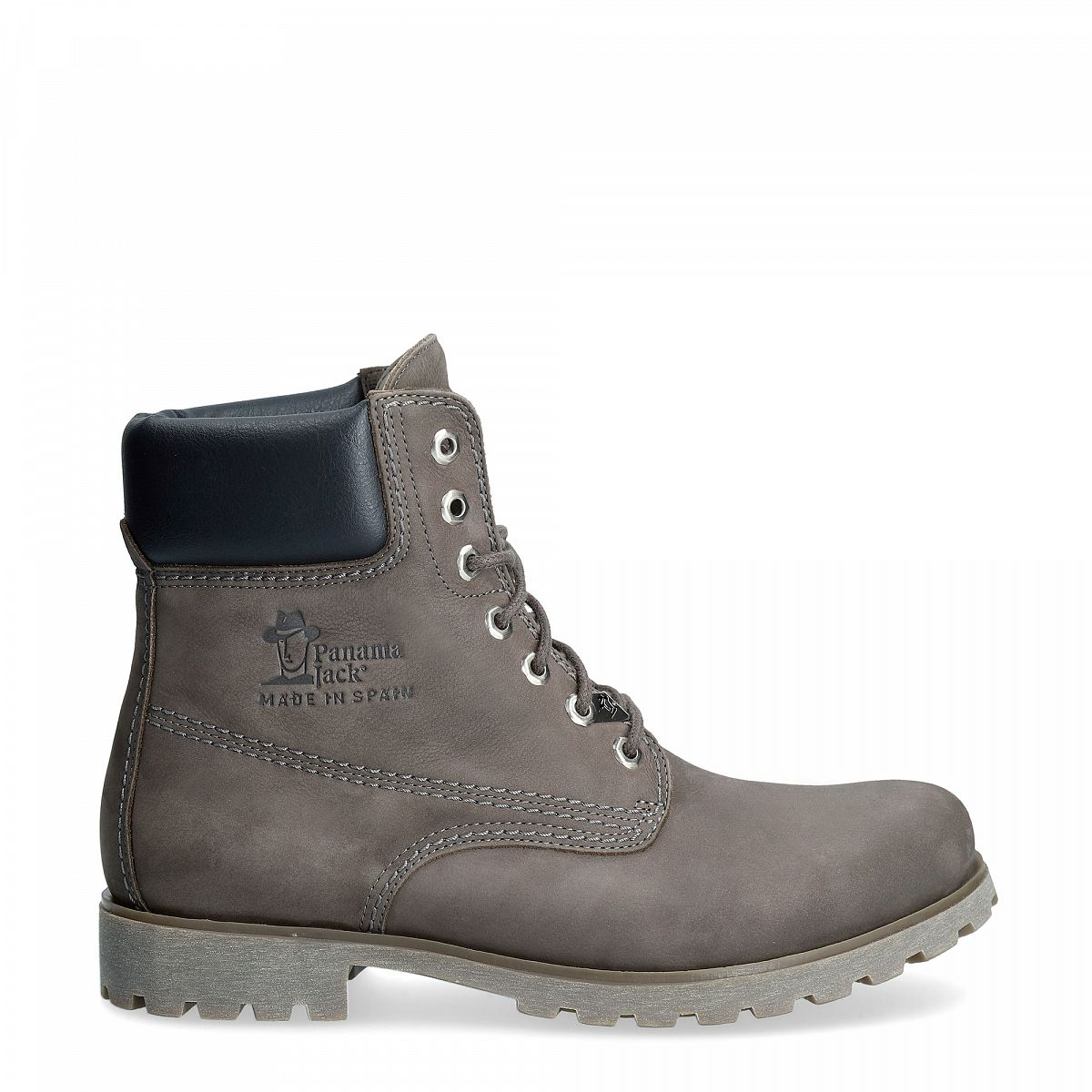 Grey leather boot with a leather lining
