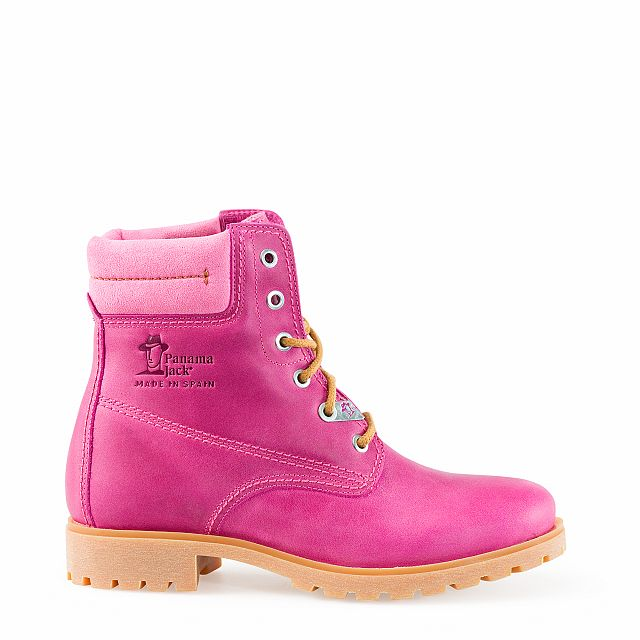 Leather boots in fuchsia with leather inner lining