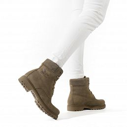 Leather women's boot in khaki with a leather lining