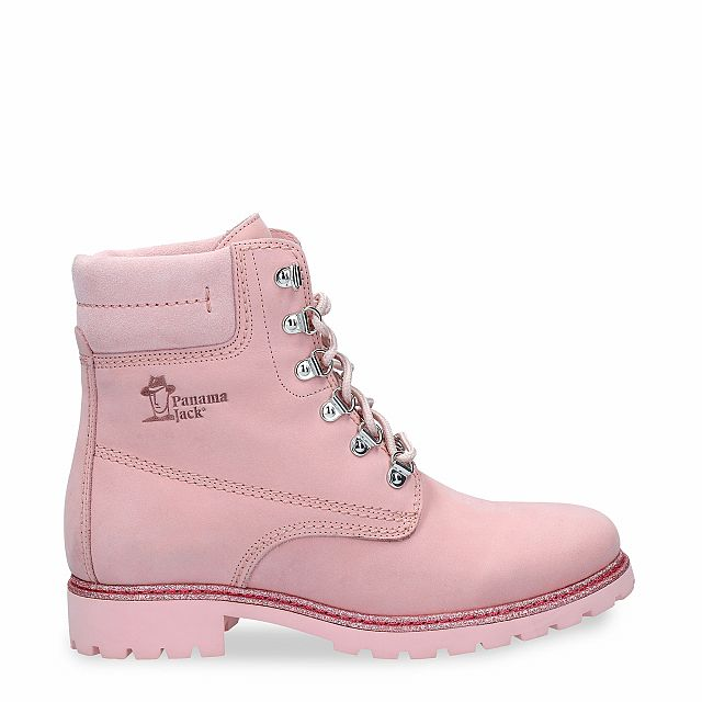 Leather boot in pink with a leather lining