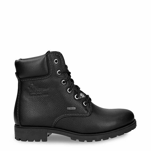 Black leather boot with a gore-tex lining