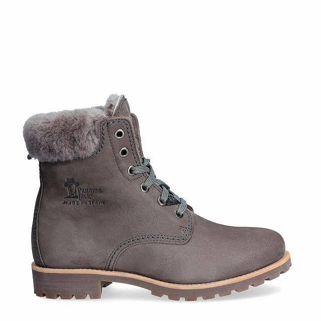 Grey leather boot with a lining of Sheepskin