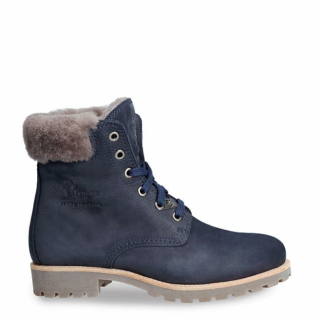 Navy leather boot with a lining of natural fur