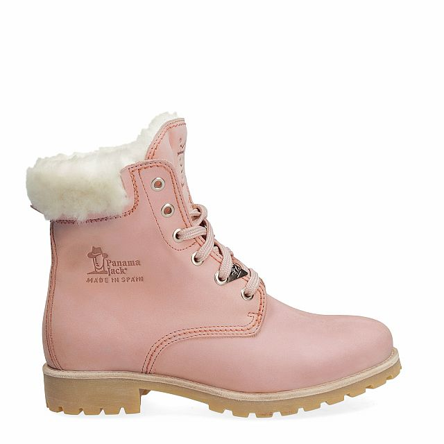 Leather boot in pink with natural fur inner lining