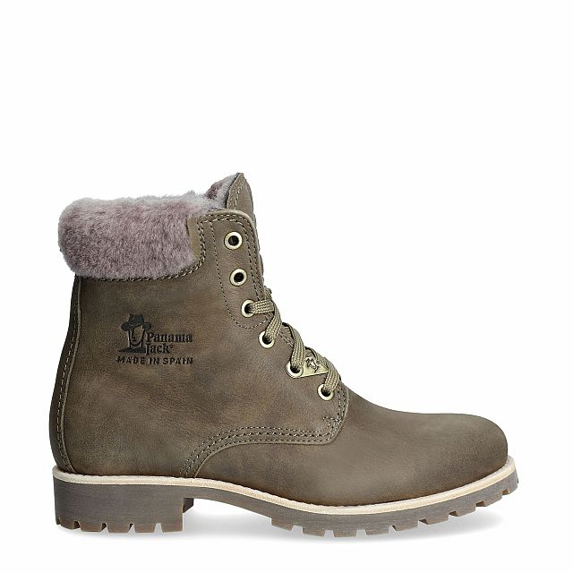 Leather boot in khaki with a lining of Sheepskin