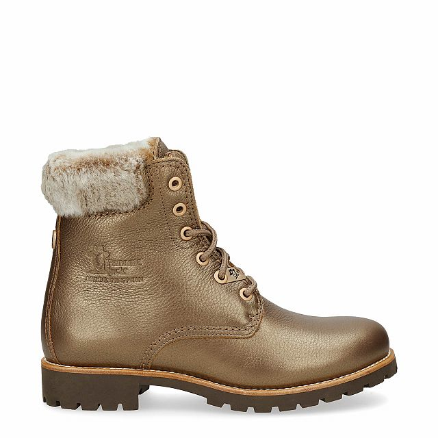 Leather boot in bronze with a lining of natural fur