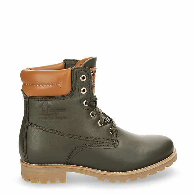 Leather boot in khaki with leather inner lining