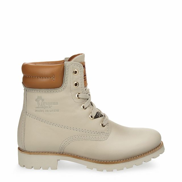 Leather boot in beige with leather inner lining