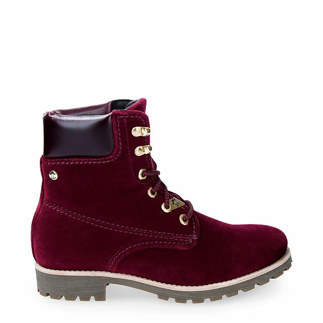 Velvet boots in burgundy with leather inner lining