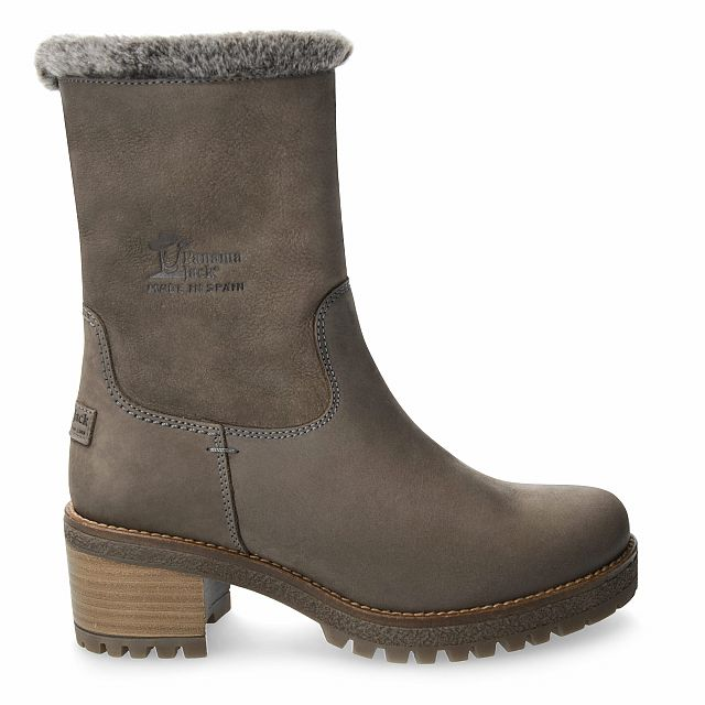 Leather boot in grey with fur inner lining