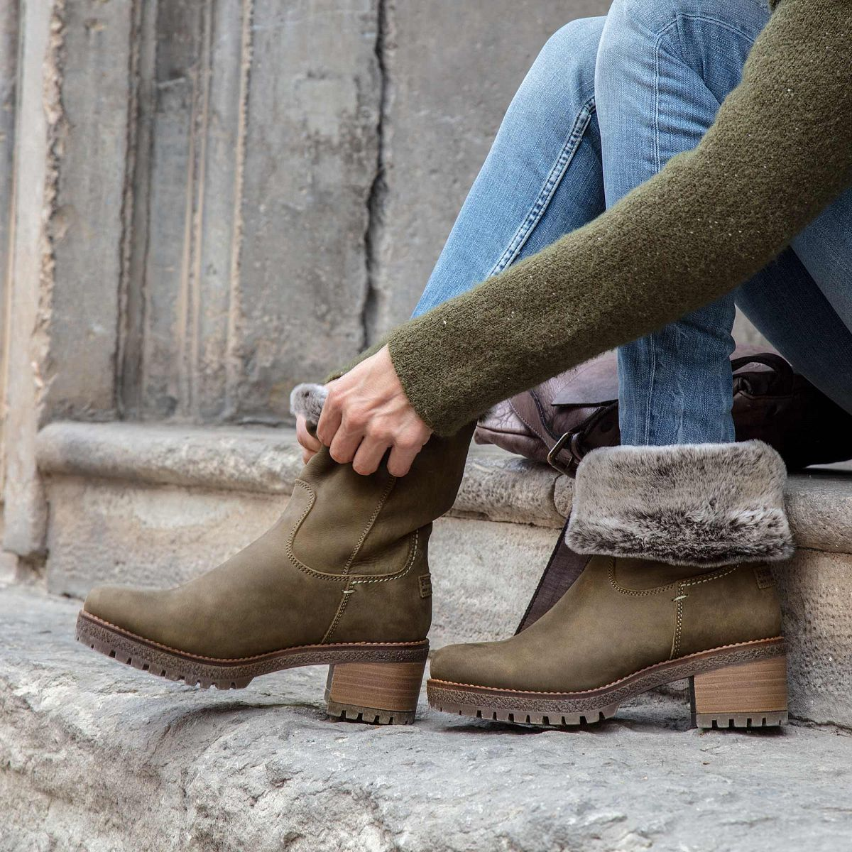 Womens Boot Piola Khaki Panama Jack Official Store Inside Heels Karen Khaky 37 Leather In With A Fur Lining
