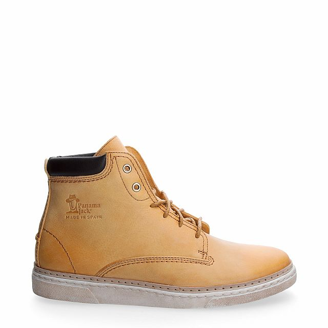 Leather ankle boots in ocher with leather inner lining